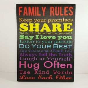 New Family Rules Canvas Wall Art Sign Colorful